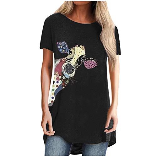Lialbert Tunika Damen Sommer Kurzarm/Langarm Longshirt Pusteblume Bedruckte Blumen Tshirts Bluse 2020 Oversized Lose Oberteil Sweatshirt
