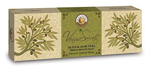 Olivenölseife - Olivenöl Seifenstück für Körper & Gesicht − Griechisches Naturprodukt − von Venus Secrets Naturkosmetik − Luxus Geschenk Set − 3er-Pack − 300 g (Olivenöl & Aloe Vera).