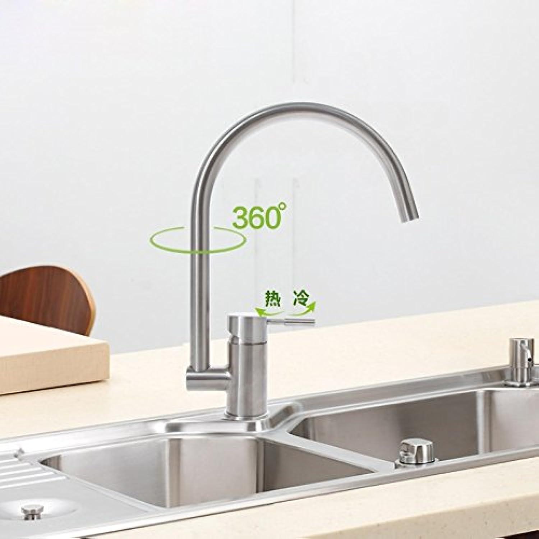 Küche mit herausziehbarer Dual-Spülbrause,Kaltes und Heies Wasser Vorhanden Messingt 304 robinets de cuisine en acier inoxydable, eau chaude et froide peuvent faire pivoter le robinet de l'évier