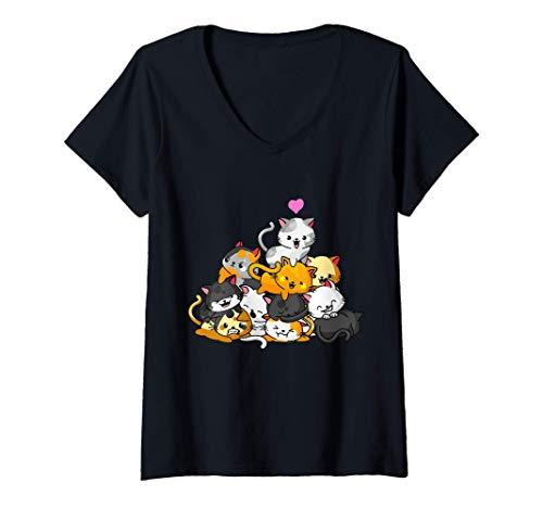 Mujer Gato Lindo Gatito Pila Gatos Anime Kawaii Neko Regalo Camiseta Cuello V