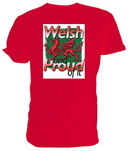 Welsh & Stolz darauf Walisischer Drache T Shirt, rot - Größe: X Large