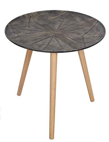Plateau géométrique Petite Table/Table Basse Simple/Plateau latéral Design Table Ronde créative en pin, métal Noir (Taille: 49 × 49 × 48 cm)