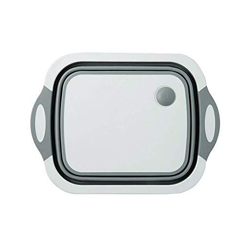 Dayvion - Cesta de drenaje 4 en 1 multitabla, plegable para cocina, frutas, verduras, frutas, verduras (gris)