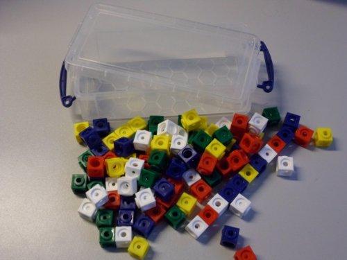 100 Steckwürfel 5-farbig (rot, gelb, grün, blau, weiß) in der praktischen Box, 1,7cm, allseitig steckbar