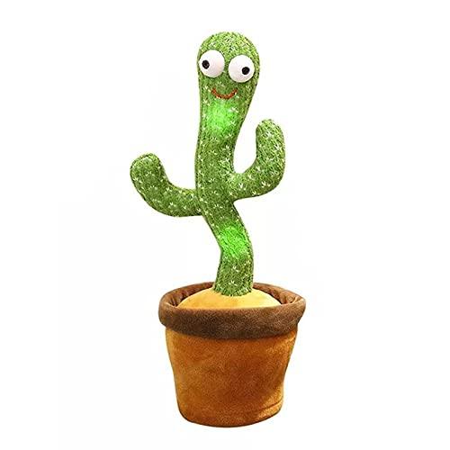 Juguete de cactus de baile recargable con 120 canciones + iluminación + altavoz Bluetooth grabación cantando felpa adorno