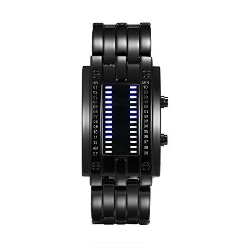 Lancardo Orologio doppia linea binario tempo visualizzazione data alla Moda a LED Display Rettangolare Cassa Cinturino in Lega Nero da Uomo Donna