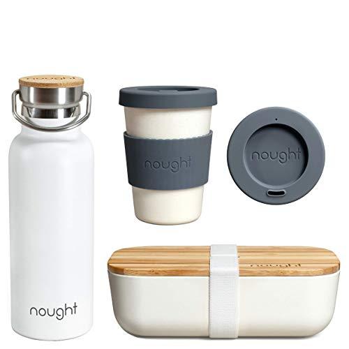 Nought Umweltfreundliche Geschenke – skandinavisches Bambus-Produkte – Set enthält Bambus-Lunchbox – weiße Wärm- und Kaltwasserflasche – Bambus-Kaffeetasse