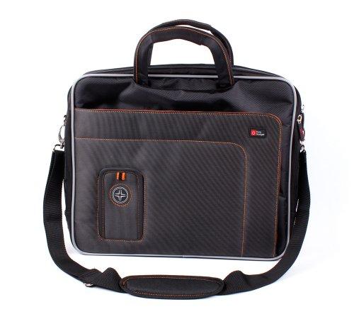DURAGADGET Sacoche pour Acer Aspire ES 15 (ES1-533-P9cr) / Aspire ES1-533-C3PZ / HP 15-bs076nf / Lenovo Legion Y520-15IKBM Ordinateurs Portables - Noir et Orange - bandoulière Amovible