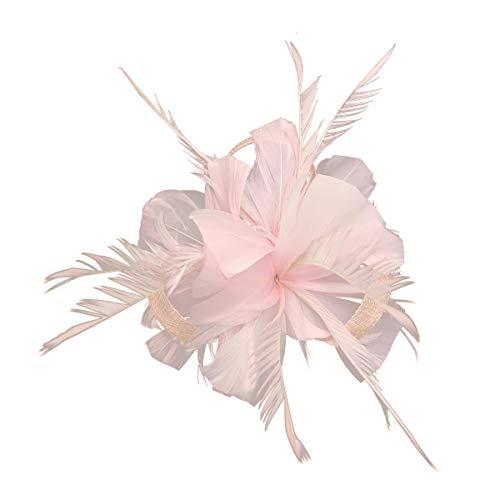 Hotstylezone Haarspange mit Federn und Mini-Hut, für Hochzeiten, Royal Ascot Race Gr. 85, hellrosa