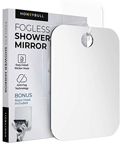 HONEYBULL Shower Mirror (Medium 6x8 inches) Flat Fogless Mirror with Razor Hook, Travel Sized, Anti Fog Technology, Waterproof & Shatterproof, Bathroom Accessories for Men & Women