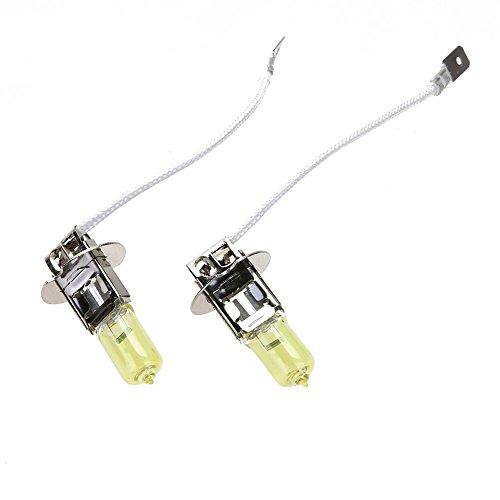 Luz del Coche Starnearby 2Pcs H3 12V 55W Bombillas de Xenón Halógenas Amarillas para Faros delanteros de Automóviles