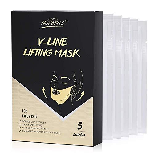 Masque Facial en V, POP MODERN.C V-line Lifting Mask, Masques Faciaux Amincissants en Forme de V, Masque Anti-âge Hydratant, Masque V Line Convient pour Double Menton, Visage Carré et etc. (5 PCS)