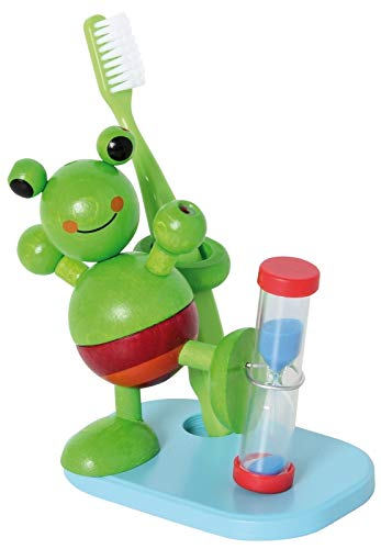 Hess 14520 - Bambino Giocattolo in Legno: Porta Spazzolino da Denti con Timer, Frog