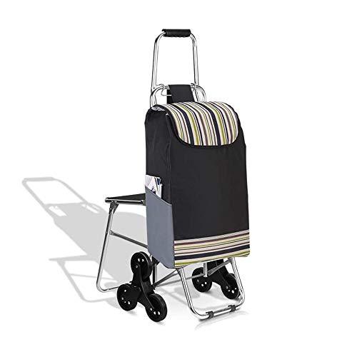 ZWXXQ Klappbar 6 Räder Einkaufswagen Haushalt Sitz Leichtgewicht Mit Stuhl Einkaufswagen Wagen- B.