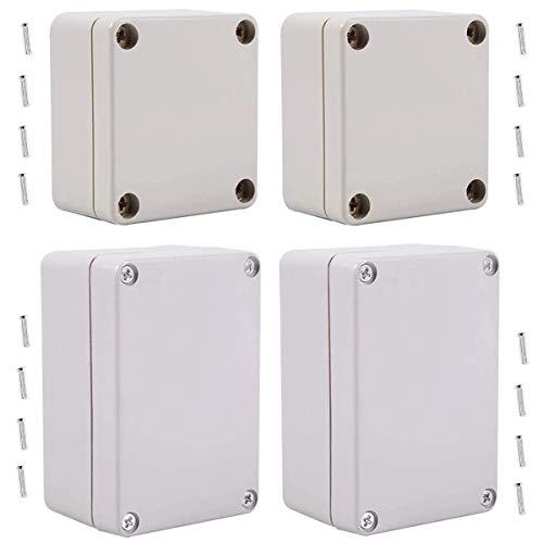Caja de conexiones a prueba de agua,Fiyuer 4 pcs caja derivación estanca de plástico blanco ip65 empalmes exterior recinto de la prenda impermeable junction box(65 * 58 * 35mm,100 * 68 * 50mm)