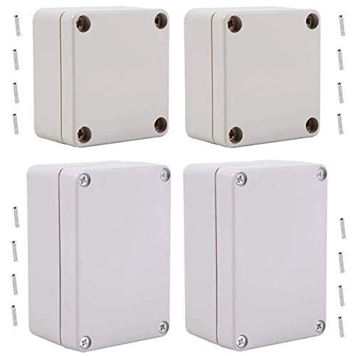 waterproof junction box Fiyuer 4 Pcs outdoor cable connector white small electrical project box electronic enclosure instrument case for Fire Fighting Equipment (89 * 59 * 35mm /100 * 68 * 50mm)