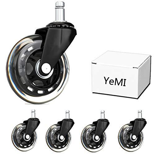 """YeMI Rueda Silla Oficina Ruedas de repuesto de goma para silla de oficina , ruedas silenciosas y seguras, para suelos de madera, color negro, 5 unidades, 3""""/75mm 11X22mm"""