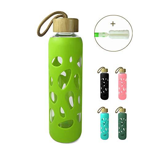 Wenburg Trinkflasche/Glasflasche mit Bambus Deckel 550 ml, Silikonhülle. Sportflasche/Wasserflasche aus Glas. Für Unterwegs (Lime, 0,55 l)