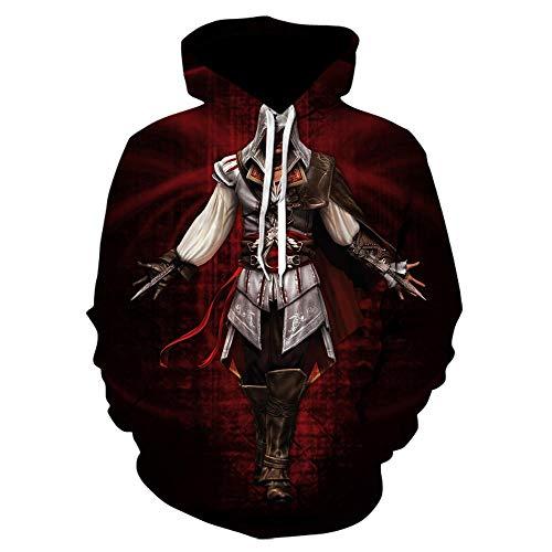 TSIgorjds Sudadera con Capucha Estampada En 3D para Mujer Assassin'S Creed Camiseta Casual De Manga Larga Estampada con Estampado Negro para Niños-We-963_S
