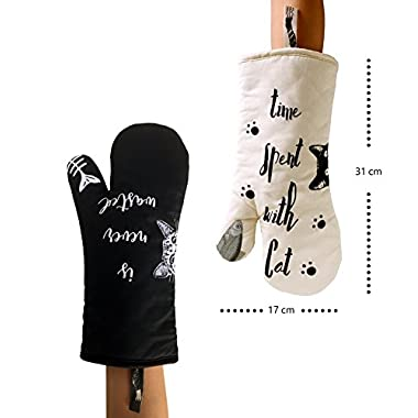 GREVY Cat Oven Mitts Heat Resistant Cooking Glove 100% Cotton Lining 12 (Ivory and Black Cat,Potholder Kitchen Cat Gloves,Set of 2)