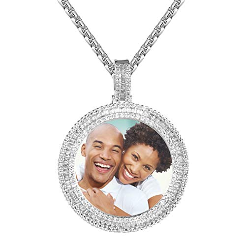 Round Circle Photo Picture Frame Memory Bling Designer Custom Pendant Necklace (Box Chain)