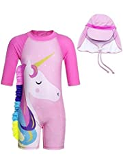 2pcs Unicorn Toddler Girl Swimsuit Kids Round-Neck Swimwear Rash Guard Bathing Suit With Pink Cap for 90-100CM