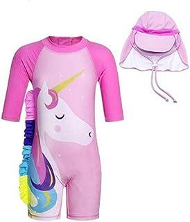 ملابس سباحة للبنات الصغار من قطعتين يونيكورن ملابس سباحة برقبة مستديرة ثوب سباحة راش جارد مع قبعة وردية