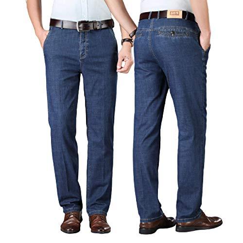 Jeans para Hombre Pantalones Vaqueros elásticos de Negocios de Pierna Recta de Verano Pantalones de Mezclilla de Cintura Alta Sueltos de Gran tamaño 40