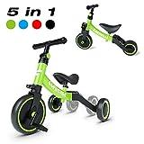 Besrey 三輪車 自転車 バランスバイク ペダルなし自転車 5 in 1キックバイク 1-5歳子供用 変身バイク T型ハンドル 持ち運びやすい 空気入れ不要 調整可 折りたたみ 緑