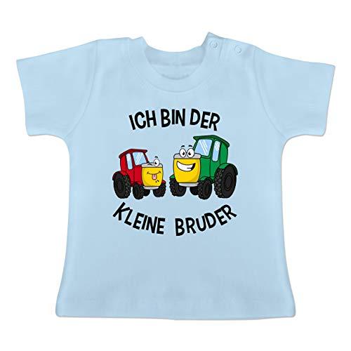 Geschwisterliebe Baby - Ich Bin der kleine Bruder Traktor - 12/18 Monate - Babyblau - Partner-Look - BZ02 - Baby T-Shirt Kurzarm