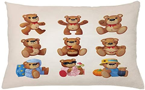 Happy Toy Teddy Bears with Funny Different Faces Nostalgic Kids Design Ambesonne Cartoon Bedspread Chocolate Cream Decorative Quilted 2 Piece Coverlet Set with Pillow Sham Twin Size