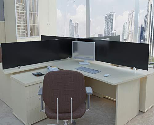 ECOfoxx Echtglas Tischtrennwand Akustik Bürotisch Sichtschutz Sichtblende ESG Milchglas Klarglas Schwarzglas (Schwarz, 130x40cm)