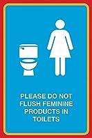 トイレで女性の製品を洗い流さないでください メタルポスタレトロなポスタ安全標識壁パネル ティンサイン注意看板壁掛けプレート警告サイン絵図ショップ食料品ショッピングモールパーキングバークラブカフェレストラントイレ公共の場ギフト