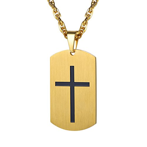 PROSTEEL Gold Christian Jewelry Dog Tag Cross Crucifix Necklace Pendant 18K Gold Plated Chain