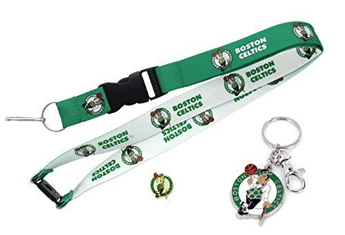 Aminco NBA Boston Celtics Team Reversable Lanyard, Logo Lapel Pin, and Metal Keychain Gift Bundle