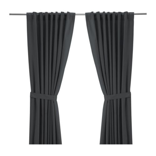 Ikea Ritva Gray Curtain Drapes Panel with Gray Tie backs 57 x 65 inches for Bedroom Living Room Window (1 Pair, 2 Panels, 2 Tie backs)
