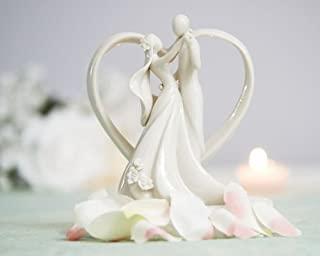 Romantic Dancing Couple With Heart Arch Porcelain Cake Topper