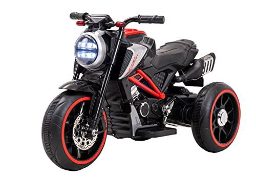 Actionbikes Motors Motocicleta eléctrica infantil Crusierbike – 2 x motor de 18 W – 2 x baterías de 6 V 4,5 Ah – freno automático – faros LED – conexión USB & AUX (rojo)