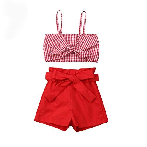 jerferr Baby Mädchen Bowknot Plaid Drucken Gurt Ernte Tops + Short Hose Outfits
