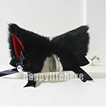 New Cute Fashion Fancy Dress Costume Long Fur Kit Cat Ears with Bell Many Colors (Black with red inside)