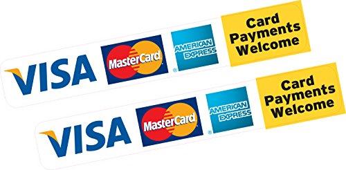 2x Card Betalingen Welkom Creditcard Visa MasterCard AMEX Sticker Gedrukt Vinyl Shop Taxi Business