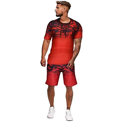Herren Kurze Jumpsuit für Sommer Kurze Hose Kurzarm Overall Männer T-Shirt Kapuze Sommerjumpsuit Schlafanzug kurzer Jogginganzug Trainingsanzug