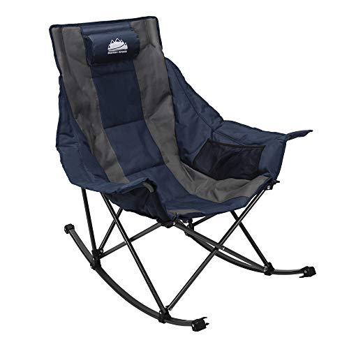 Coastrail Outdoor Camping Rocking Oversized Padded Portable Folding Rocker Chair for Outdoor, Porch, Backyard Patio, Lawn, Garden, 300lbs Weight Capacity, Carry Bag Included, Navy & Gray