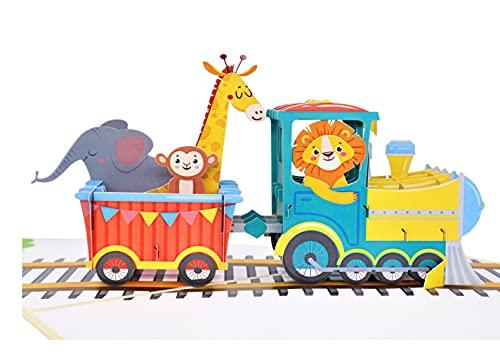 MOKIO® Pop-Up Karte für Kinder [NEU!] – Zug mit Tieren – 3D Geschenkkarte zum Geburtstag, als Gutschein oder für Geldgeschenke, Klappkarte mit Umschlag