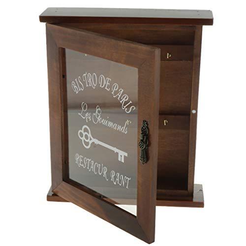 F Fityle Gabinete De Almacenamiento De Llaves De Madera Vintage con Ganchos para Colgar, 21x6x25cm. - marrón