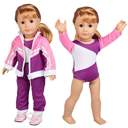 Gymnastics Doll Outfit for American Girl & 18' Dolls (4 Piece Set) - Sports Premium Handmade Clothes Include Leotard, Warm-Up Pants & Jacket, Sneakers - Premium Apparel for Doll
