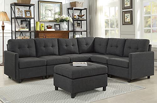 Sectional Sofa Ottoman Set 6 Seater Modular Corner Sectional Couches Living Room Furniture Sets Reversible L Shape Couch Set, Deep Gray