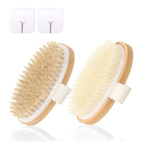 NJIHGSS Dry Brush – Body Scrubber Shower Brush – Soft & Stiff Dry Brushes + 2 Hooks – Bamboo Wood, Ninon Bristles – Lymphatic Drainage/Blood Circulation – Dry Brushing + Exfoliating Brush – 2 Pack