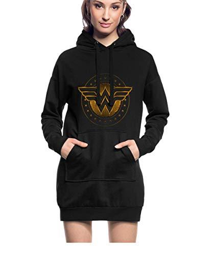 DC Comics Wonder Woman Logo Étoilé Sweat À Capuche Long Femme, S, Noir