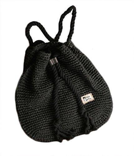 qiulv Borsa zaino in paglia Borsa da rattan in tessuto di tessitura di spalla Tote di shopping della borsa da viaggio della spiaggia di modo, black